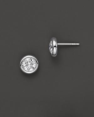 Roberto Coin 18 Kt. White Gold Bezel-set Diamond Stud Earrings, 0.50 Ct. T.w.