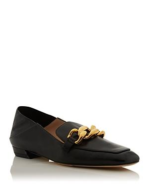 Stuart Weitzman Women's Mickee Chain Embellished Leather Loafers