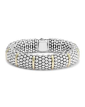 Lagos Sterling Silver & 18k Yellow Gold Signature Caviar Bracelet Station Bracelet