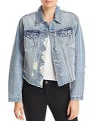 Aqua Distressed Cropped Denim Jacket - 100% Exclusive