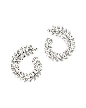 Diamond Swirl Earrings In 14k White Gold, .40 Ct. T.w.