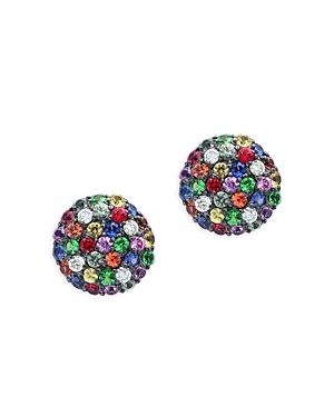 Multicolor Sapphire And Diamond Stud Earrings In 14k Rose Gold - 100% Exclusive