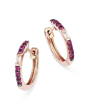 Meira T 14k Rose Gold Hoop Earrings With Pink Sapphires And Diamonds