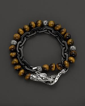 John Hardy Men's Naga Double Wrap Link Bracelet With Tiger's Eye
