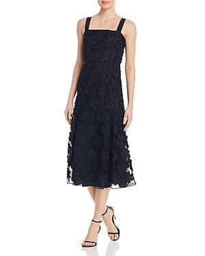 Paule Ka Floral Lace Midi Dress