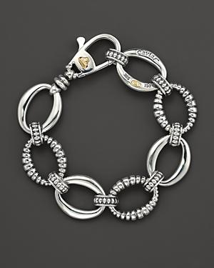 Lagos Smooth And Fluted Oval Link Bracelet