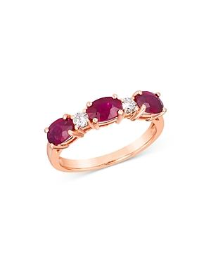 Bloomingdale's Ruby Trio & Diamond Stacking Ring In 14k Rose Gold - 100% Exclusive