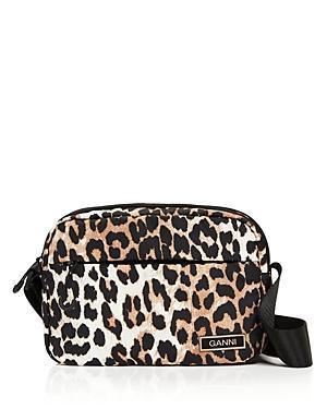 Ganni Festival Recycled Leopard Spot Shoulder Bag