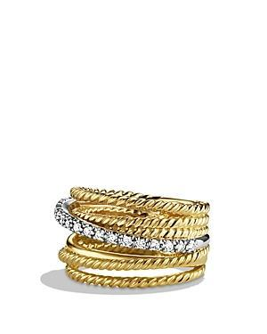 David Yurman Crossover Wide Ring With Diamonds In Gold