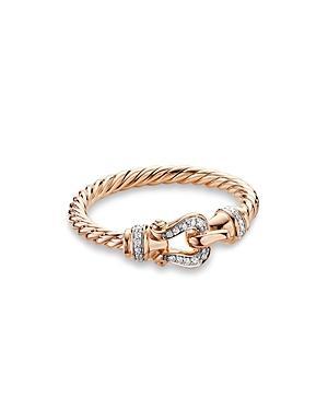 David Yurman Petite Buckle Ring In 18k Rose Gold With Diamonds