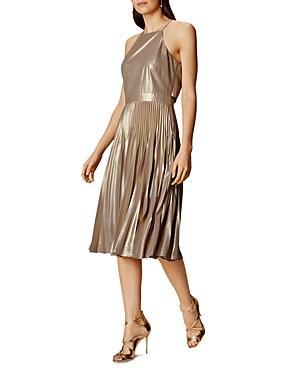 Karen Millen Atelier Metallic Pleated Dress
