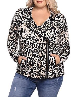 Belldini Leopard Print Knit Moto Jacket - 100% Exclusive