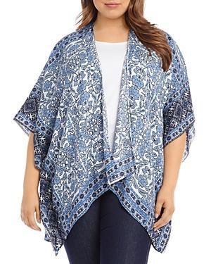 Karen Kane Plus Border Scarf Print Kimono Jacket