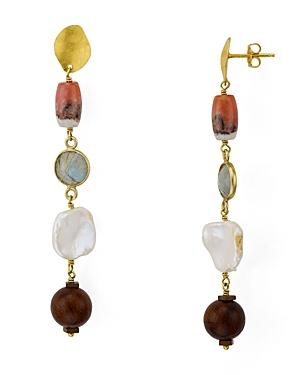 Chan Luu Mixed Stone Drop Earrings In 18k Gold-plated Sterling Silver