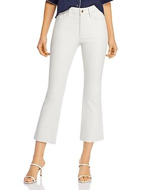 Frame Le Crop Leather Mini Bootcut Jeans In Blanc
