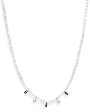 Meira T 14k White Gold Silverite Corundum Beaded Necklace With Sapphire And Diamonds, 14