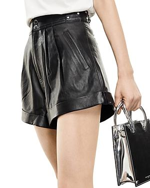 The Kooples Pleated Leather Shorts