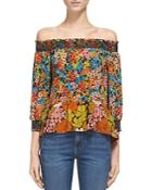 Whistles Mandy Off-the-shoulder Silk Top