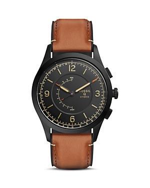 Fossil Q Activist Leather Strap Hybrid Smartwatch, 42mm