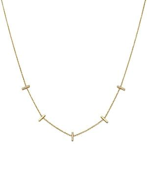 Zoe Chicco 14k Yellow Gold Pave Diamond Bar Station Necklace, 16