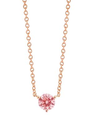 Lightbox Jewelry Solitaire Lab-grown Diamond Pendant Necklace In Rose Gold-plated Sterling Silver, 18