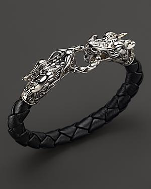 John Hardy Men's Naga Silver Black Woven Leather Dragon Bracelet