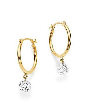 Aerodiamonds 18k Yellow Gold Diamond Dangle Hoop Earrings