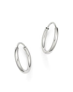 14k White Gold Small Endless Hoop Earrings
