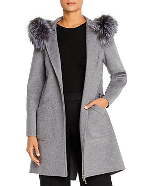 Maximilian Furs Fox Fur Trim Wool Coat
