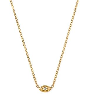 Zoe Chicco 14k Yellow Gold Itty Bitty Diamond Evil Eye Necklace, 16