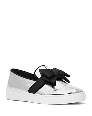 Michael Kors Collection Val Crackled Metallic Slip-on Sneakers