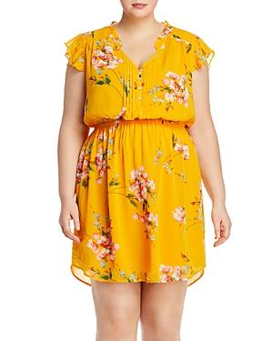 Daniel Rainn Plus Floral Print Flutter-sleeve Dress