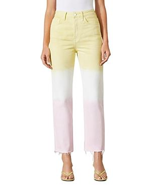 Grlfrnd Mica Color Blocked Straight Jeans In Pink Crush