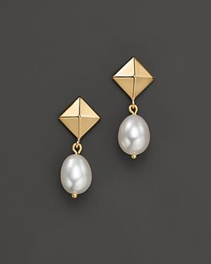 Cultured Freshwater Pearl Pyramid Earrings In 14k Yellow Gold, 8mm