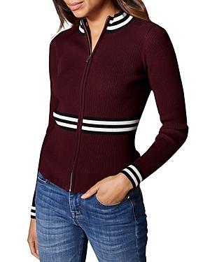 Karen Millen Striped-trim Zip-front Cardigan