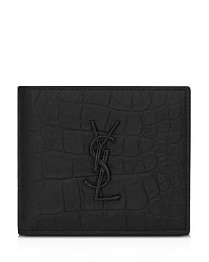 Saint Laurent Croc Embossed Monogram Bi Fold Wallet