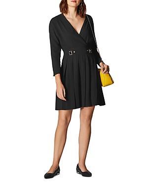 Karen Millen Pleated Faux-wrap Dress