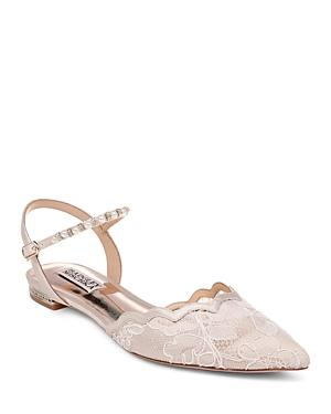 Badgley Mischka Women's Lennon Crystal & Faux Pearl Pointed Toe Flats