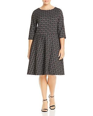 Leota Plus Geometric Jacquard Fit-and-flare Dress