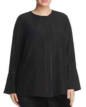 Lafayette 148 New York Plus Georgie Silk Bell-sleeve Blouse