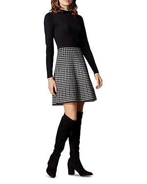 Karen Millen Houndstooth Detail Fit-and-flare Dress