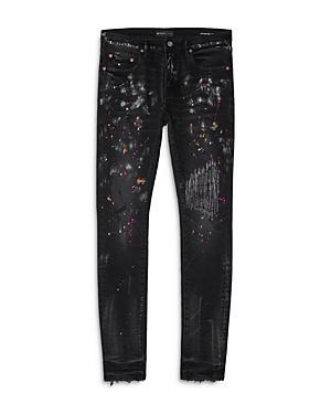 Purple Brand Paint Repair Distressed Skinny Fit Jeans In Black Multi