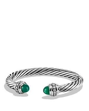 David Yurman Cable Classics Bracelet With Green Onyx & Diamonds