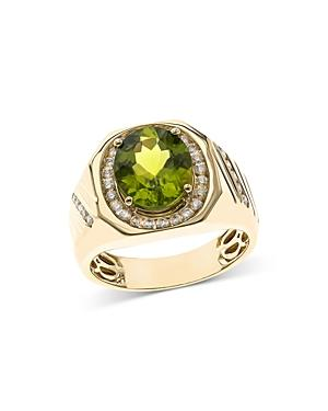 Bloomingdales Peridot & Diamond Men's Ring In 14k Yellow Gold - 100% Exclusive