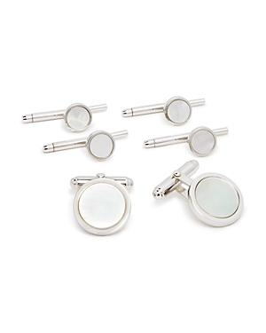 David Donahue Sterling Silver & Mother-of-pearl Shirt Stud & Cufflinks Set