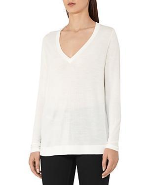 Reiss Sally Merino Wool & Silk V-neck Sweater