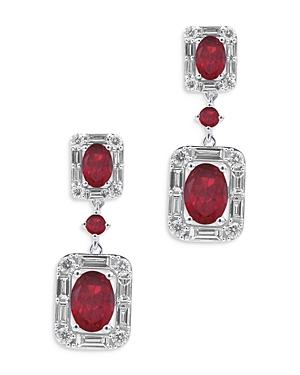 Bloomingdale's Ruby & Diamond Halo Drop Earrings In 14k White Gold - 100% Exclusive