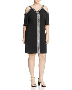 Vince Camuto Plus Cold Shoulder Contrast Trim Dress