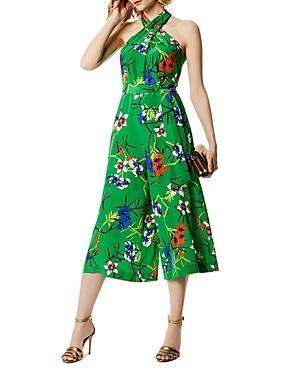 Karen Millen Botanical Print Silk Jumpsuit