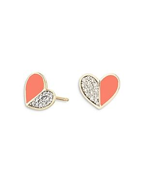 Adina Reyter 14k Yellow Gold Diamond & Coral Ceramic Heart Stud Earrings
